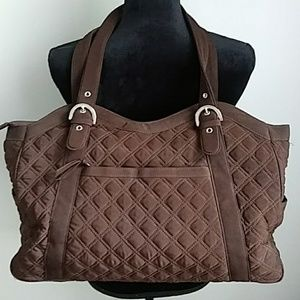 VERA BRADLEY BROWN QUILTED DIAPER/BABY BAG